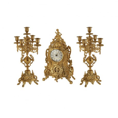 Набор каминный Часы и 2 канделябра S1813