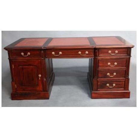 Кабинетный стол темно-коричневая кожа 140х75х80