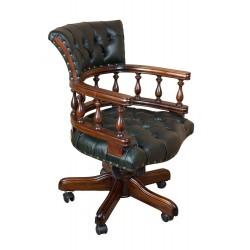 Кабинетное кресло натуральная зеленая  кожа 60x62x88